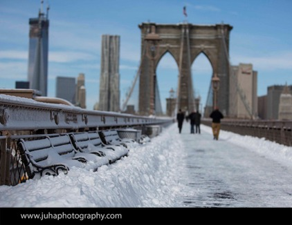 Snow covered Brooklyn Bridge
