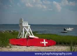 Lifeguard is on duty at this beach at Great Captain Island